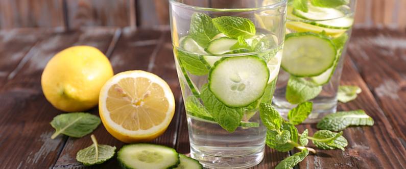 Lemon, Cucumber & Mint Infused Water
